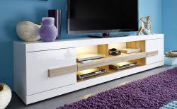 TV-Unterteil Lowboard Hochglanz weiß und Sonoma Eiche 200 cm Ultra
