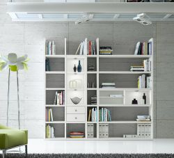 Wohnwand Bücherwand MDor Dekor Lack weiß matt schwarz Natur LED-Beleuchtung Breite 238 cm