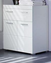 Badezimmer Kommode Amanda in Hochglanz weiß Badschrank 37 x 79 cm Badmöbel Unterschrank