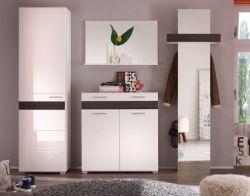 Garderobe komplett Set Mezzo weiß Hochglanz Melinga Eiche dunkel 4-teilig 250 cm