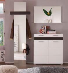 Flur Garderobe Set weiß Hochglanz Eiche Melinga 3-teilig Mezzo 170 cm