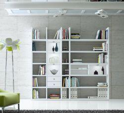 Wohnwand Bücherwand MDor Dekor Lack weiß Hochglanz LED-Beleuchtung Breite 238 cm