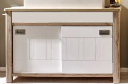 Badmöbel Waschtisch Seven Eiche SanRemo hell und matt weiß ohne Waschbecken