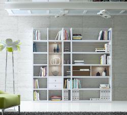Wohnwand Bücherwand MDor Dekor Lack weiß Hochglanz Eiche Natur LED-Beleuchtung Breite 238 cm