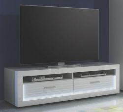 Lowboard TV-Board Starlight Hochglanz weiß mit Rillenoptik inkl. LED-Beleuchtung 150 x 44 cm