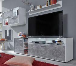 Wohnwand Sam in weiß und Beton Stone Design grau Schrankwand 229 x 185 cm