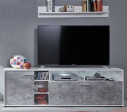 TV-Lowboard Sam in weiß und Beton Stone Design grau Set mit Wandregal 175 cm