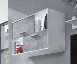 Hängeschrank Sam in weiß und Beton Stone Design grau 99 x 61 cm