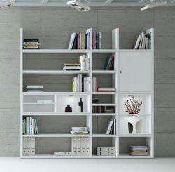 Wohnwand Bücherwand MDor Dekor Lack weiß Hochglanz LED-Beleuchtung Breite 227 cm