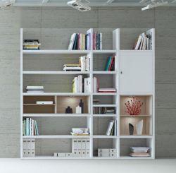 Wohnwand Bücherwand MDor Dekor Lack weiß Hochglanz Eiche Natur LED-Beleuchtung Breite 227 cm