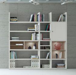 Wohnwand Bücherwand MDor Dekor Lack weiß matt Eiche Natur LED-Beleuchtung Breite 227 cm
