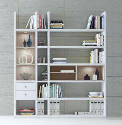 Wohnwand Bücherwand MDor Dekor Lack weiß Hochglanz Eiche Natur LED-Beleuchtung Breite 193 cm