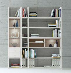 Wohnwand Bücherwand MDor Dekor Lack weiß matt Eiche Natur LED-Beleuchtung Breite 193 cm