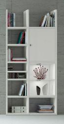 Bücherregal Bücherwand MDor Dekor Lack weiß matt LED-Beleuchtung Breite 108 cm