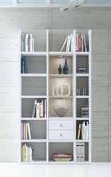 Wohnwand Bücherwand MDor Dekor Lack weiß Hochglanz Eiche Natur LED-Beleuchtung Breite 120 cm