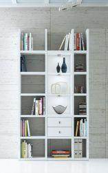 Wohnwand Bücherwand MDor Dekor Lack weiß Hochglanz LED-Beleuchtung Breite 120 cm