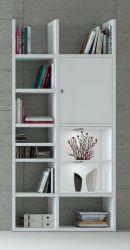 Bücherregal Bücherwand MDor Dekor Lack weiß Hochglanz LED-Beleuchtung Breite 108 cm