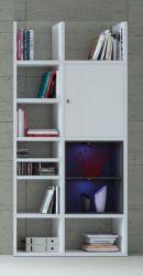 Bücherregal Bücherwand MDor Dekor Lack weiß Hochglanz schwarz LED-Beleuchtung Breite 108 cm