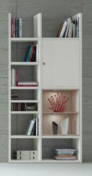 Bücherregal Bücherwand MDor Dekor Lack weiß matt Eiche Natur LED-Beleuchtung Breite 108 cm