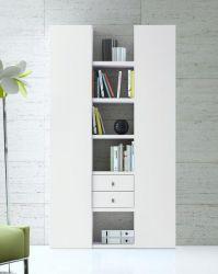 Wohnwand Bücherwand MDor Dekor Lack weiß Hochglanz Breite 126 cm