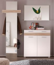 Flur Garderobe Set weiß Hochglanz Eiche Sonoma 3-teilig Mezzo 170 cm