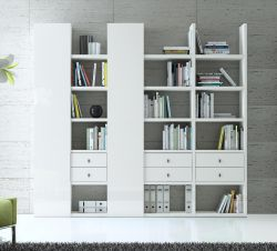 Wohnwand Bücherwand MDor Dekor Lack weiß Hochglanz