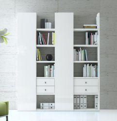 Wohnwand Bücherwand MDor Dekor Lack weiß Hochglanz Breite 185 cm
