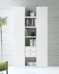 Wohnwand Bücherwand MDor Dekor Lack weiß matt Breite 126 cm