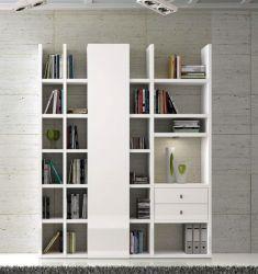 Wohnwand Bücherwand MDor Dekor Lack weiß Hochglanz LED-Beleuchtung Breite 178 cm