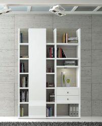 Wohnwand Bücherwand MDor Dekor Lack weiß Hochglanz LED-Beleuchtung Breite 152 cm