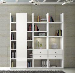 Wohnwand Bücherwand MDor Dekor Lack weiß Hochglanz LED-Beleuchtung Breite 212 cm