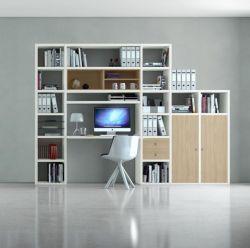 Bürowand/Homeoffice mit Einbauschreibtisch MDor Lack weiß mit Eiche Natur Breite 304 cm