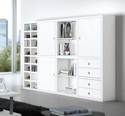 Highboard Wohnwand Lack weiß matt LED-Beleuchtung Breite 232 cm