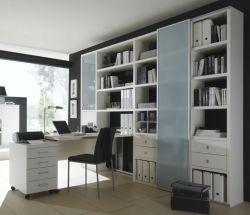 Bürowand/Aktenschrank mit Winkelschreibtisch und Rollcontainer MDor Lack weiß matt Breite 276 cm