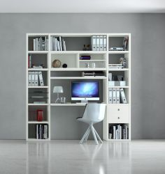 Bürowand/Homeoffice mit Einbauschreibtisch MDor Lack weiß matt Breite 213 cm