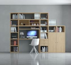 Bürowand/Homeoffice mit Einbauschreibtisch MDor Eiche Natur mit Lack weiß Breite 304 cm