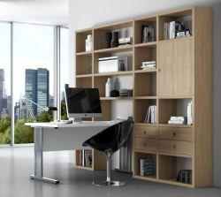 Bürowand/Sektretär mit Einbauschreibtisch Eiche Natur Breite 245 cm