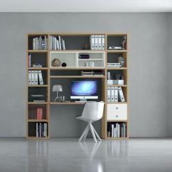 Bürowand/Homeoffice mit Einbauschreibtisch MDor Eiche Natur mit Lack weiß matt Breite 213 cm
