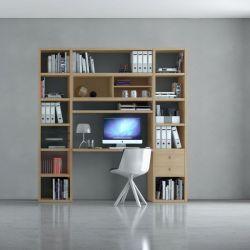 Bürowand/Homeoffice mit Einbauschreibtisch Eiche Natur Breite 213 cm