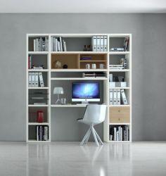 Bürowand/Homeoffice mit Einbauschreibtisch MDor Lack weiß matt mit Eiche Natur Breite 213 cm