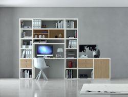 Bürowand/Sektretär mit Einbauschreibtisch MDor Lack weiß matt mit Eiche Natur Breite 323 cm