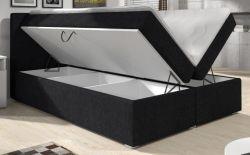 Boxspringbett Paris 180 x 200 cm Stoff schwarz inkl. Bettkasten, 7-Zonen Taschenfederkern-Matratze und Visco-Schaum Topper