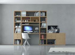 Bürowand/Sektretär mit Einbauschreibtisch Eiche Natur Breite 323 cm