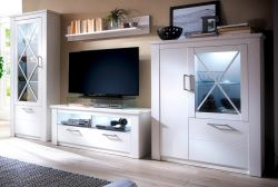 Wohnwand Georgia in Pinie Struktur weiß Landhaus Design 365 cm Schrankwand