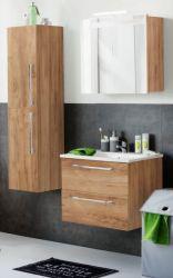 Badmöbel Set Badkombination Intenso Eiche Trüffel 3-teilig Spiegelschrank Hängeschrank Unterschrank inkl. Waschbecken