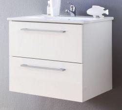 Waschbeckenunterschrank Intenso Hochglanz weiß Lack 60 cm Waschtisch inkl. Waschbecken