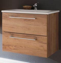 Waschbeckenunterschrank inkl. Waschbecken Eiche Trüffel Melamin 60 cm Waschtisch Intenso