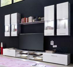Wohnwand Spider Hochglanz weiß und  Industrie Beton Stone Design grau 6-teilig Schrankwand 270 x 183 cm