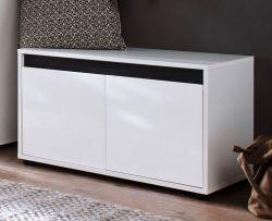 Sitzbank Garderobe Sol in Lack Hochglanz weiß und grau Dekor Schuhbank 80x45 cm