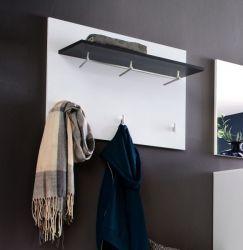 Wandgarderobe Garderobenpaneel Sol in Lack Hochglanz weiß und grau 80 cm